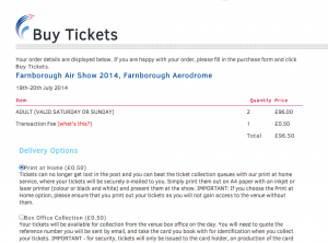 Farnborough Air Show an SeeTIckets charging 50p to print tickets at home