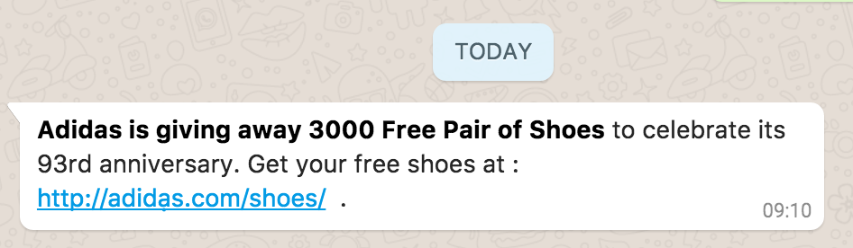 Adidas Shoes WhatsApp Message