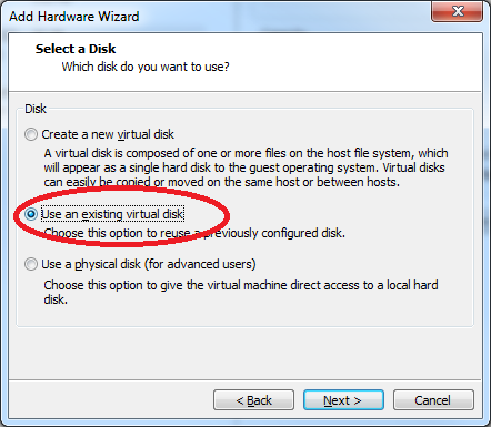 select use an existing virtual disk