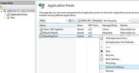 Set IIS AppPool Advanced Settings