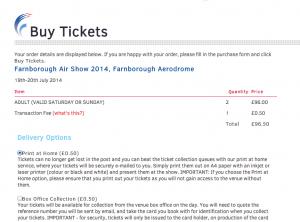 Farnborough Air Show an SeeTIckets charging 50p to print tickets at home
