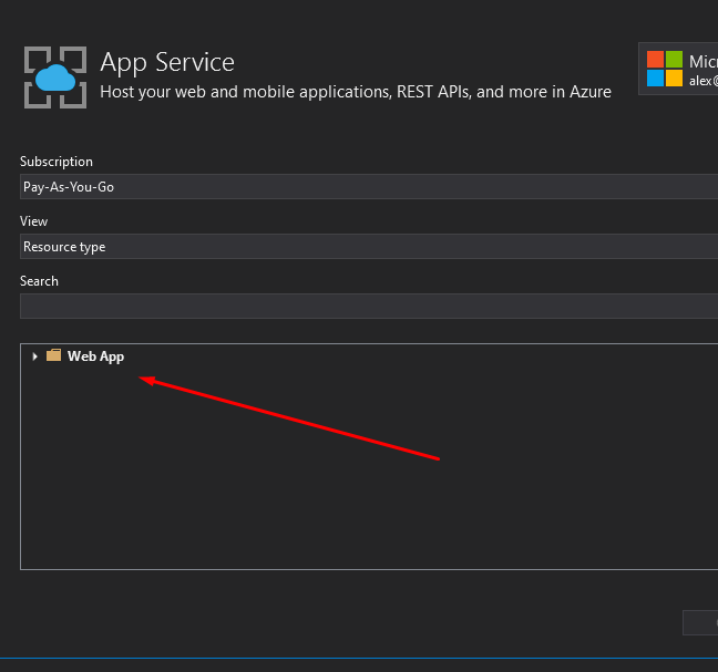 Web App now shown when publishing via Visual Studio