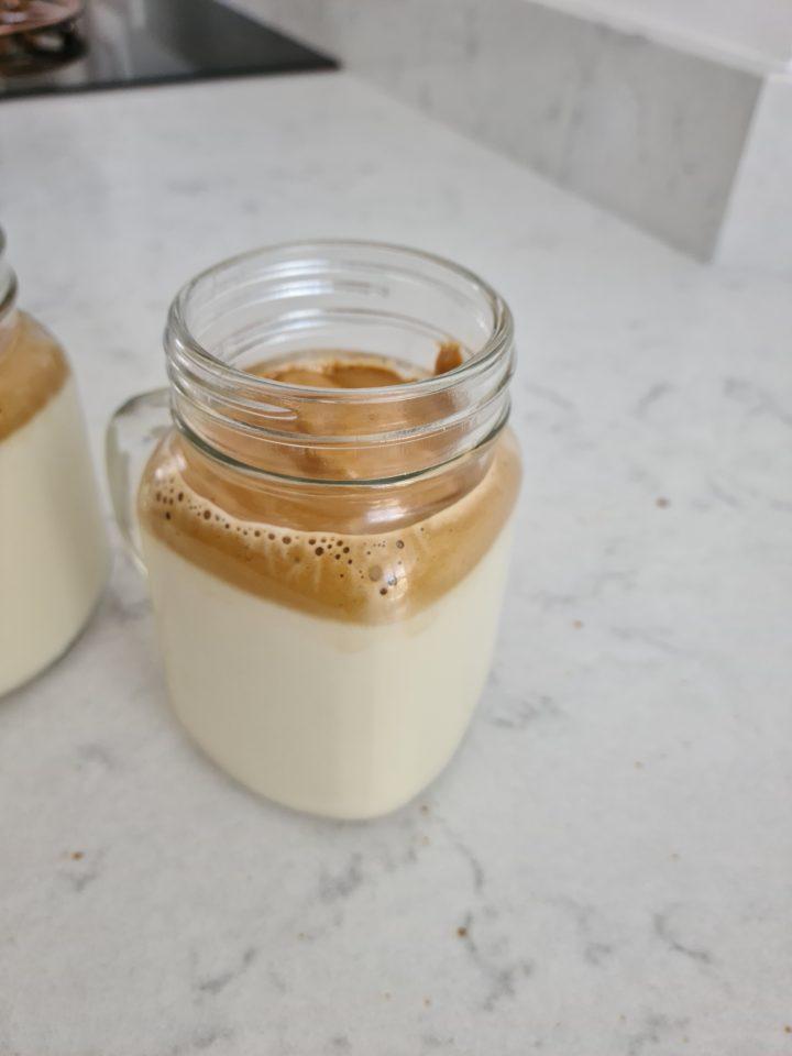 Dalgona coffee in mason jar