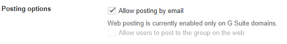 Allow users to post to the group on the web is greyed out